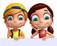 Renda de Little Boy e da menina com placa branca Foto de Stock Royalty Free