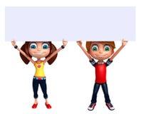 Renda de Little Boy e da menina com placa branca Imagens de Stock Royalty Free