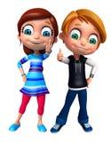 Renda de Little Boy e a menina com thums levanta acima Foto de Stock Royalty Free