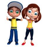 Renda de Little Boy e a menina com thums levanta acima Imagem de Stock