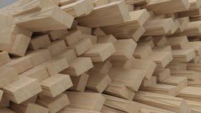 Renda dei fasci e delle plance del legname da costruzione 3D fotografia stock libera da diritti