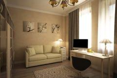 Renda della stanza accogliente della casa di campagna royalty illustrazione gratis