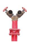 Renda di un idrante antincendio rosso con il tubo flessibile, isolato su bianco fotografia stock libera da diritti
