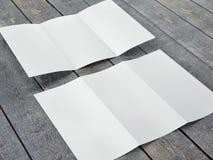Renda do molde vazio do tamanho dobrável em três partes do folheto A4 Imagens de Stock Royalty Free
