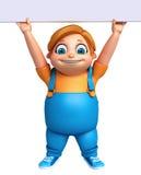 Renda do rapaz pequeno com placa branca Foto de Stock