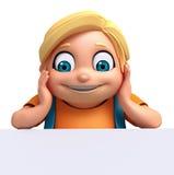 Renda do rapaz pequeno com placa branca Imagens de Stock