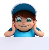Renda do rapaz pequeno com placa branca Imagem de Stock Royalty Free