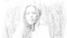 Renda do retrato da mulher do ar livre no lápis