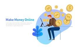 Renda i soldi in linea Illustrazione di concetto di affari la gente che si siede davanti al computer con la moneta Vendita di com Fotografie Stock