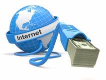 Renda i soldi online. Concetto. Terra e cavo del Internet con soldi. Fotografia Stock