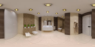 Renda il panorama sferico 360 dell'interno del bagno Immagini Stock