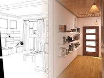 Renda l'interior design del salone dello spazio aperto in casa di lusso illustrazione vettoriale