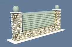 Renda la rete fissa di pietra del giardino sull'azzurro Immagini Stock
