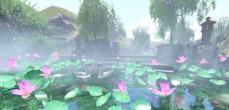 Renda lagoas do jardim da cisne ilustração do vetor
