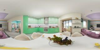 Renda o panorama sem emenda do interior da sala de visitas Fotografia de Stock Royalty Free