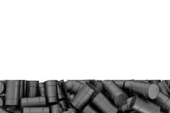Rendant la grande pile des tonneaux à huile noirs d'isolement sur le fond blanc Photos stock