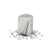 Rendant le grand bloc rectangulaire de roche grise, de ses puces et de sélection d'isolement sur le fond blanc