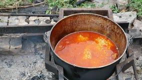Rendant le repas extérieur sur le feu ouvert en pilaf de plov de chaudron banque de vidéos