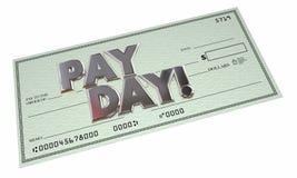 Rendas do trabalho do pagamento de dinheiro da verificação do dia de pagamento Imagens de Stock
