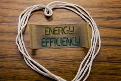 Rendement énergétique conceptuel de légende des textes d'écriture de main Concept d'affaires pour l'écologie de l'électricité écr Photographie stock libre de droits