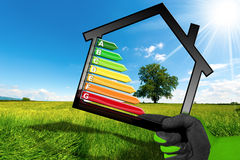 Rendement énergétique - symbole avec le modèle de Chambre Photographie stock libre de droits