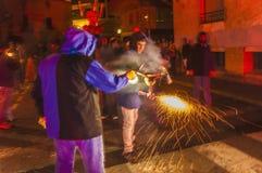 Rendement de Correfoc en EL Vendrell Photo stock