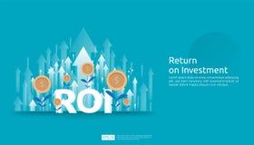 Rendement van investering, het concept van de winstkans bedrijfs de groeipijlen aan succes ROI-tekst met de grafiekgrafiek van de vector illustratie