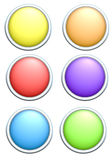 Render of 6 round rainbow colored buttons vector illustration
