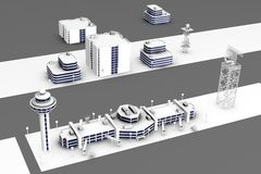 Render of airport. 3d render of airport buildings Royalty Free Stock Photography