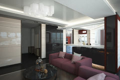 Render of the apartment. Architectural visualization of the interior of an apartment in a multi-storey building Royalty Free Stock Photos