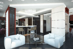 Render of the apartment. Architectural visualization of the interior of an apartment in a multi-storey building Stock Photography