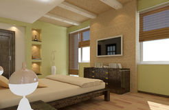 Render of apartment  bedroom room Stock Images