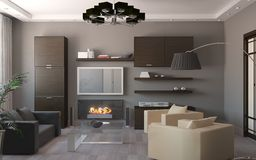 Render of apartment living room Royalty Free Stock Photos