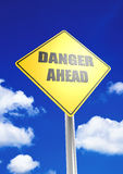 Danger ahead. A render artwork with blue sky background royalty free stock photo