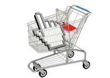Mouse cursor and shopping cart Royalty Free Stock Photography