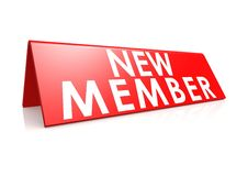 New member tag in red. A render artwork with  white background Stock Images