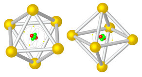 Render: Atom caught in metalic cristal Royalty Free Stock Image