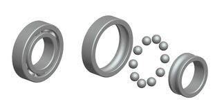 Render: ball bearing. And exploded view Royalty Free Stock Image