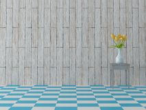 Render of beautiful composition of yellow sping flower and bright blue tiles in vintage style Royalty Free Stock Image