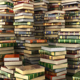 Render of big pile of colorful books on full screen. Royalty Free Stock Photos