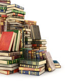 Render of big pile of colorful books on the left side, Stock Photos