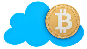 Render of a bitcoin in the cloud Royalty Free Stock Photos