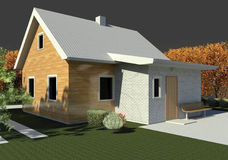 Render: bungalow. Render: new dwelling house, bungalow. Visualisation Stock Image