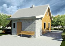 Render: bungalow. Render: new dwelling house, bungalow. Visualisation Stock Photos