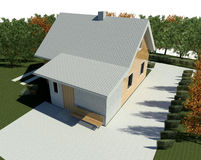 Render: bungalow. Render: new house, bungalow. Visualisation Stock Photos