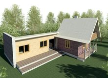Render: bungalow. Render: new dwelling house, bungalow. Visualisation Royalty Free Stock Photography