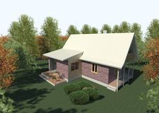 Render: bungalow. Render: new dwelling house,  bungalow. Visualisation Stock Photo