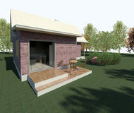 Render: bungalow. Render: new dwelling house,  bungalow. Visualisation Stock Photography