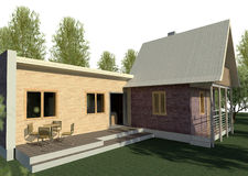 Render: bungalow. Render: new dwelling house,  bungalow. Visualisation Royalty Free Stock Image
