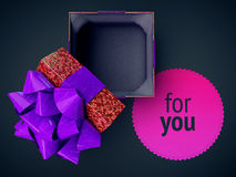 Render cg illustration top view gift box purple opened cover cap lid violet empty present case on vivid gradient and space text pl Royalty Free Stock Images